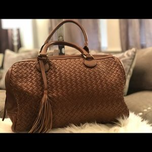 BANANA REPUBLIC Satchel Bag Tan Synthetic Leather